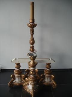 Conjunto de madeira em talha dourada matizado