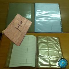 Livro Condolências cortiça com mica A4 folhas assinaturas e micas Cartões