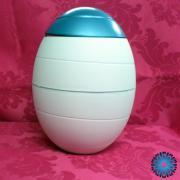 urna de cinzas biodegradavel branca / azul